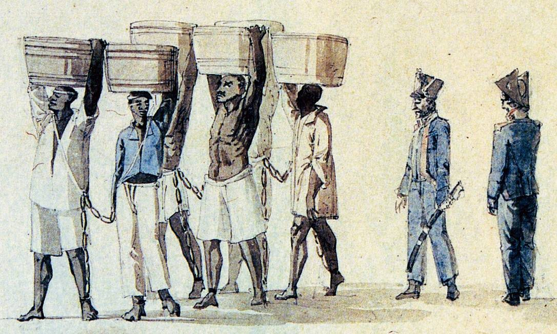 Presos de galé: negros condenados a penas baixas eram obrigados a prestar serviços no Rio Foto: Reprodução/Thomas Enter