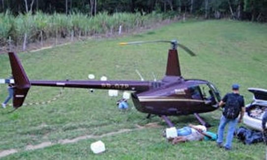 Helicóptero apreendido pela Polícia Federal Foto: TV Gazeta