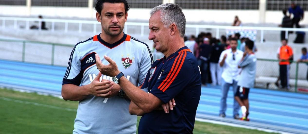 Fred conversa com Dorival Júnior. Jogador só deve voltar ao time mesmo em 2014 Foto: Divulgação / Fluminense