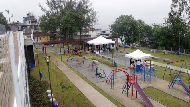Nova área de lazer do Parque Machado de Assis, no Morro do Pinto, ficará disponível, diariamente, das 6h às 21 Foto: Ricardo Cassiano / Divulgação/Prefeitura do Rio