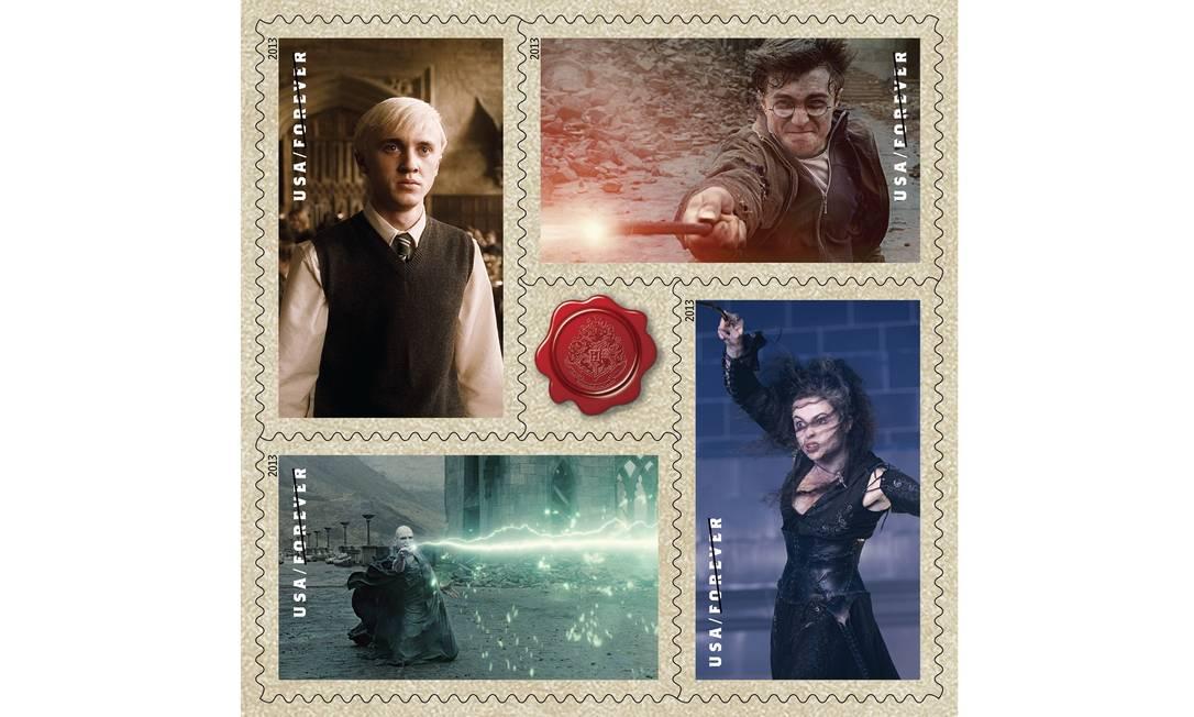 Selos da linha 'Harry Potter' fabricados pelos Correiros dos Estados Unidos Foto: Reprodução
