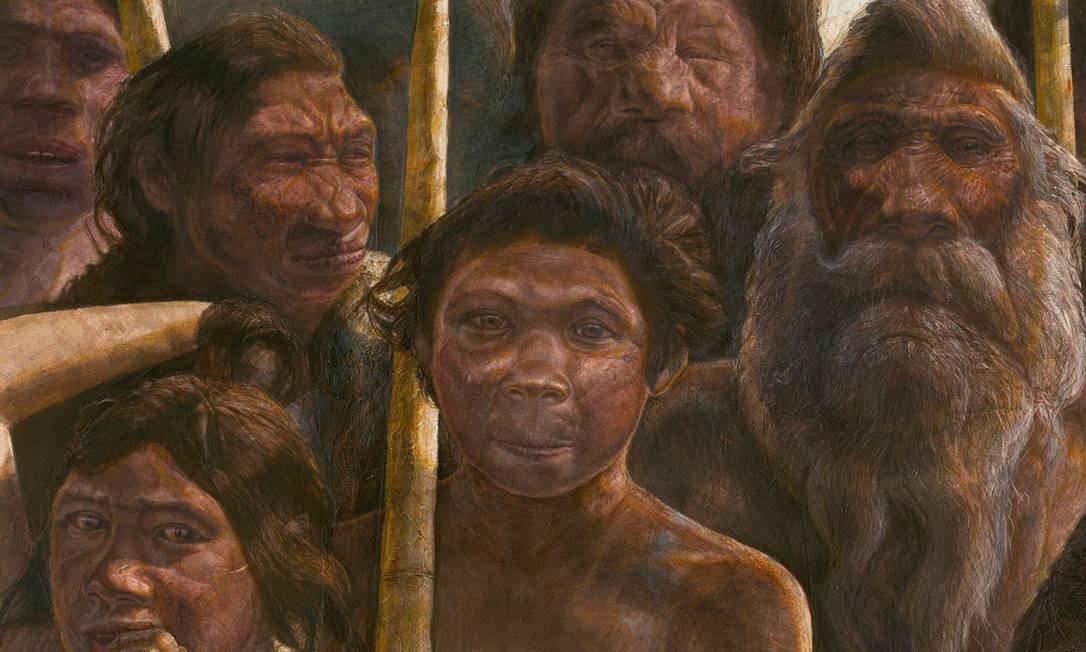 Ilustração mostra como seria aparência dos hominídeos de Sima de los Huesos, que viveram há aproximadamente 400 mil anos mas tiveram DNA relacionado a outro grupo que habitou a Ásia centenas de milhares de anos depois Foto: Javier Trueba/Madrid Scientific Films