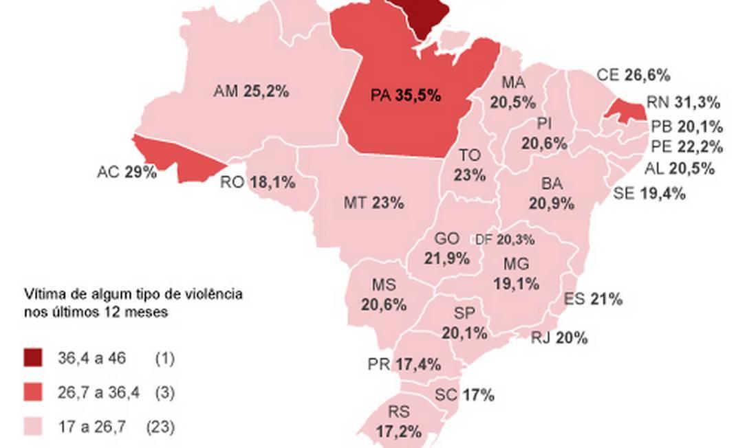 A distribuição das vítimas da violência no país Foto: Criação / / O Globo