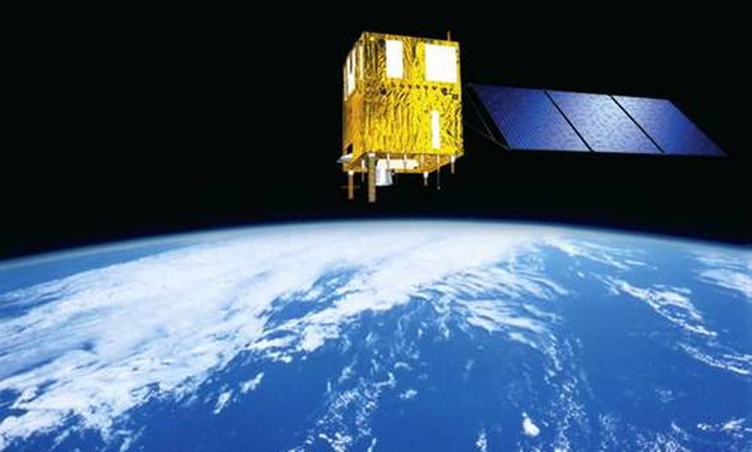 Ilustração de um satélite da série CBERS na órbita da Terra: lançamento tapa lacuna de quase 4 anos na capacidade do Brasil de produzir imagens da Terra desde o espaço Foto: Divulgação/Inpe