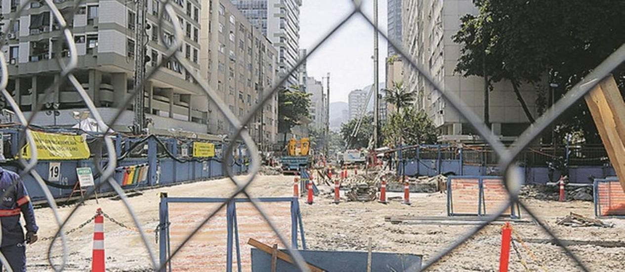Um dos canteiros de obras da futura estação Jardim de Alah Foto: Fabio Rossi / Agência O Globo