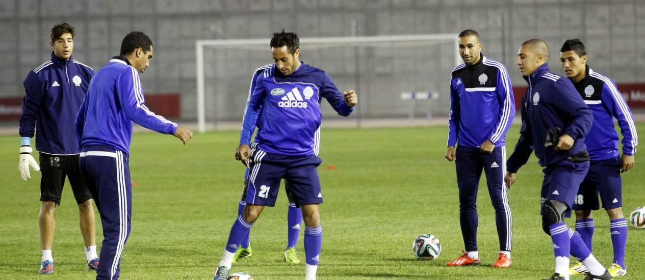 O time do Raja Casablanca no último treino antes da partida desta quarta-feira, contra o Auckland City Foto: Louafi Larbi / Reuters