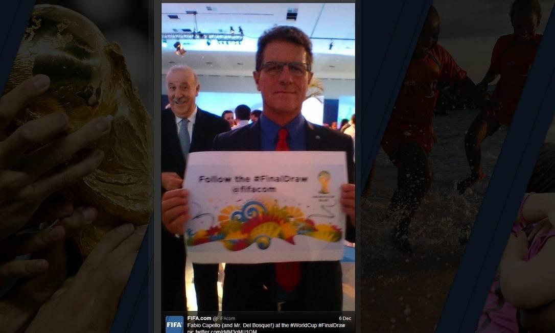 Vicente del Bosque roubou a cena na foto promocional da Fifa, e a imagem viralizou Foto: Reprodução da internet