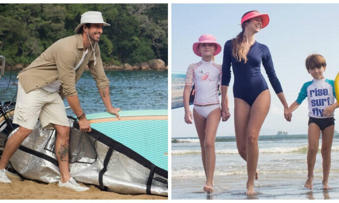Marca UV.Line oferece produtos que vão desde R$ 30 a R$ 300, entre chapéus, camisas, saídas de praia e guarda-sois Foto: Divulgação/UV.Line