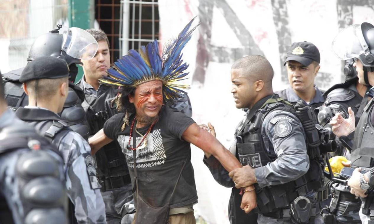 PM diz que a ação do Batalhão de Choque cumpre ordem do Comando da corporação Foto: Pablo Jacob / Agência O Globo