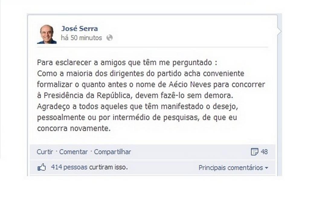 Facebook de José Serra. Foto: Reprodução