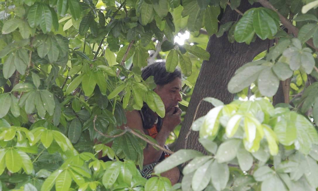 Índio faz protesto em cima de árvore na Aldeia Maracanã. Ele conseguiu pegar comida jogada por manifestantes Márcia Foletto / O Globo