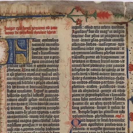 A Bíblia de Gutenberg, de 1455, foi digitalizada para consulta e pesquisa Foto: Reprodução