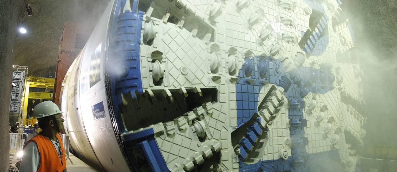 Começam operações do Tatuzão no túnel do metrô, como parte das obras da Linha 4 Foto: Pablo Jacob / Agência O Globo
