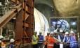 Governador Sérgio Cabral, acompanhado do vice Luiz Fernando Pezão, participa do início das operações do Tatuzão no túnel do metrô, como parte das obras da Linha 4