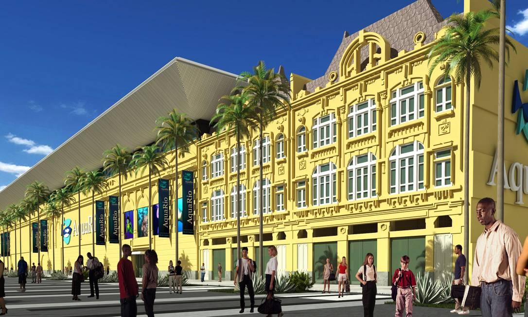 Fachada do projeto do AquaRio, que será instalado no Porto Foto: Divulgação