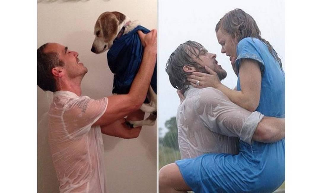 O americano Chris Naka está provocando risadas com suas recriações de cenas românticas do cinema. O rapaz tem reencenado, ao lado de um cachorro, momentos icônicos de 'Titanic', 'A primeira noite de um homem', 'Top Gun', 'Diário de uma paixão' (foto), entre outros filmes Foto: Reprodução / Reddit.com