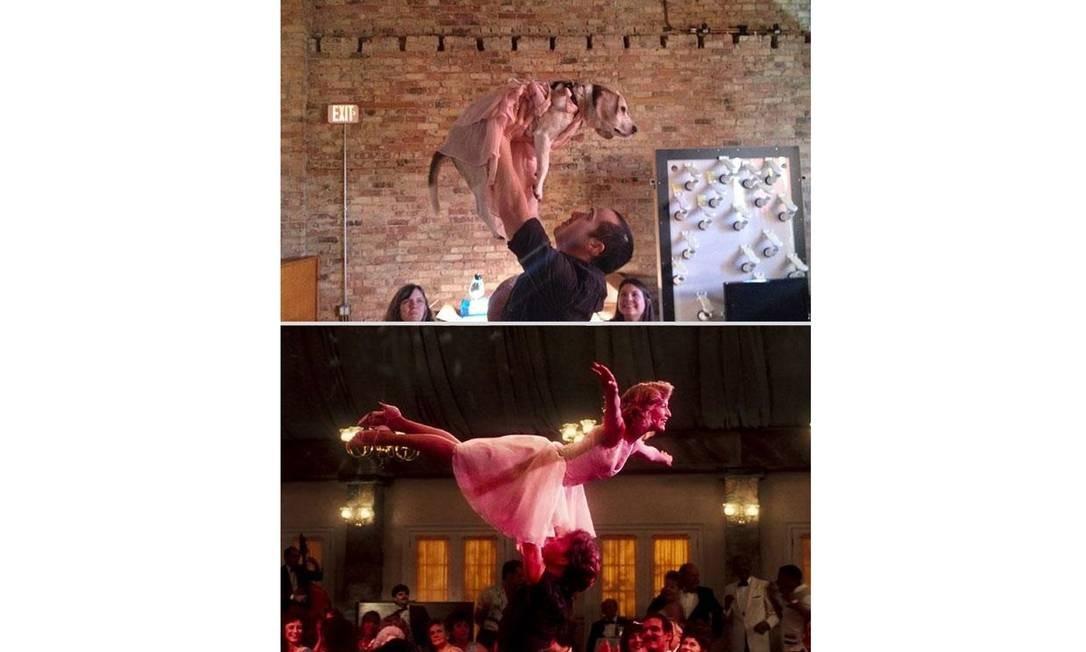 A série de cenas românticas não estaria completa sem a famosa sequência de 'Dirty dancing - Ritmo quente'. Chris tem recebido sugestões de centenas de internautas Foto: Reprodução / Reddit.com
