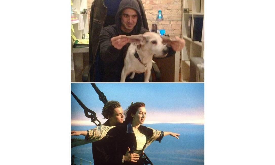 A foto que deu o start para o projeto: Chris e Wrigley encarnam Leonardo DiCaprio e Kate Winslet em 'Titanic' Foto: Reprodução / Reddit.com