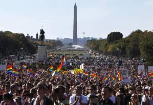 Manifestação LGBT em frente ao Capitólio, em Washington DC, em outubro de 2009 Foto: Jacquelyn Martin / AP