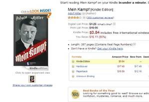 A página de venda do ebook 'Mein Kampf' na Amazon Foto: Reprodução