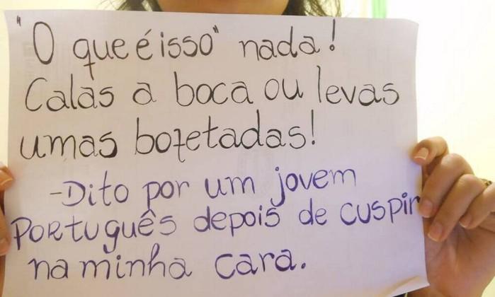As mensagens mostram discrimanação contra brasileiros, mulheres e homossexuais Reprodução / Facebook
