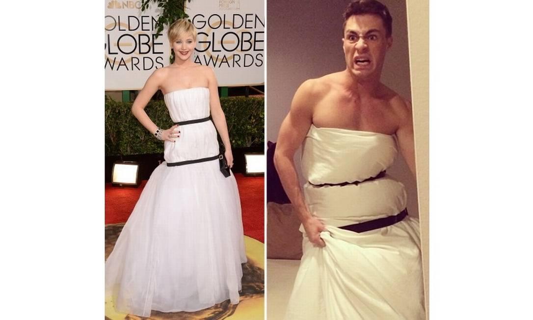 Internauta 'faz adaptação' do vestido de Jennifer Lawrence usando um lençol Foto: @coltonlhaynes / Repdoução Istagram
