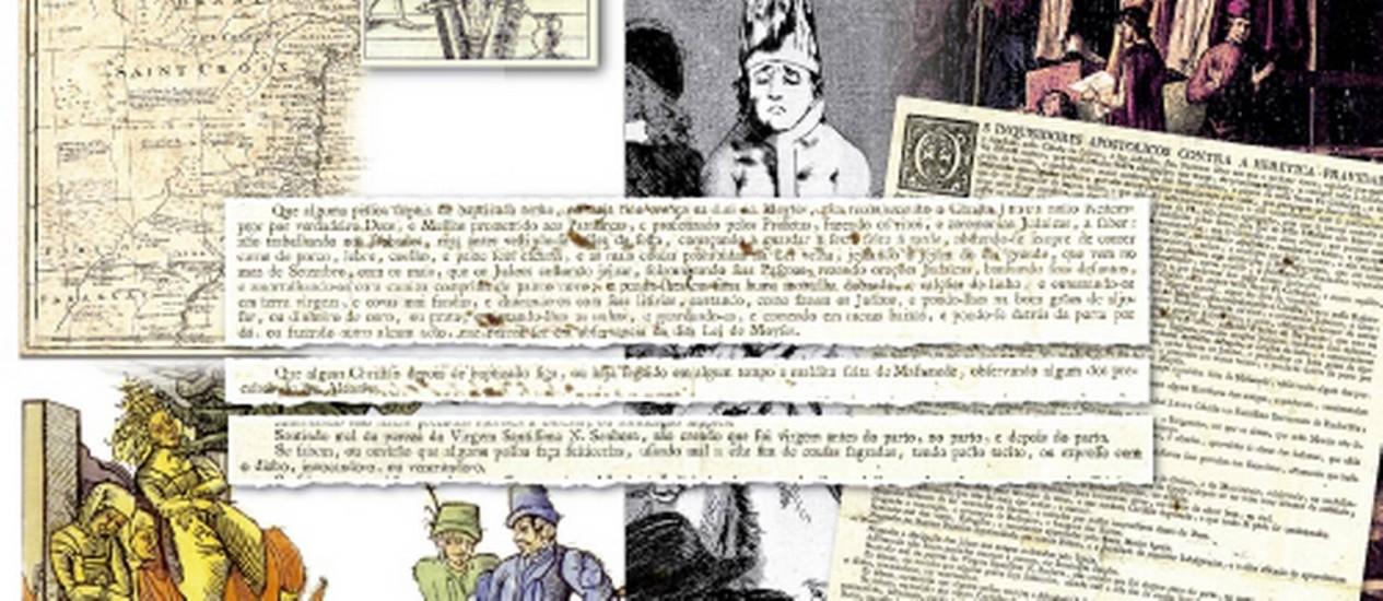 Fotomontagem. Edital que ficava afixado nas igrejas para incitar denúncias contra os que eram considerados hereges se mistura às imagens do Brasil da época Foto: Editoria de arte