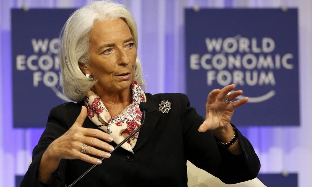 Lagarde em painel de Davos neste sábado Foto: RUBEN SPRICH / REUTERS