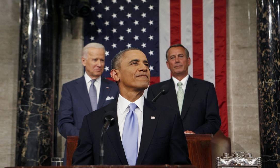 O presidente americano, Barack Obama, faz discurso diante do Congresso Foto: LARRY DOWNING / REUTERS