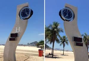 Relógio da Copa do Mundo informa dois horários errados Foto: Fotos enviadas pelo leitor Paulo Franco / O Globo