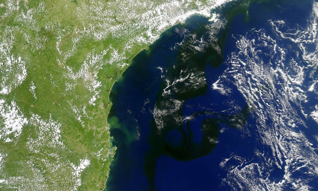 Mancha escura aponta presença de micro-organismos na costa brasileira Foto: Nasa