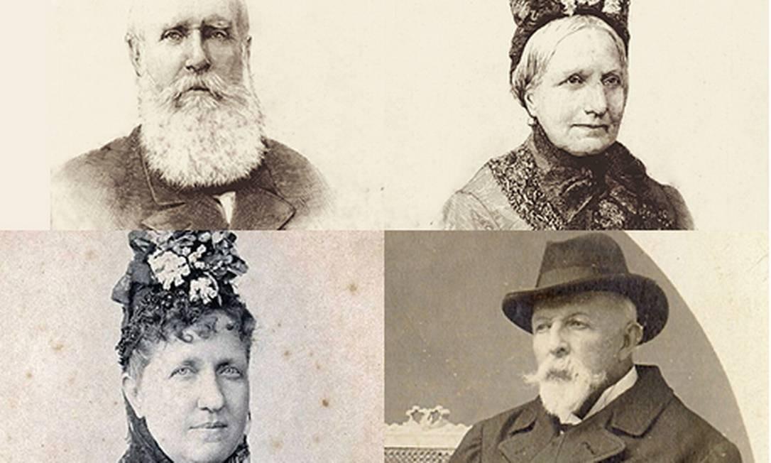 No sentido horário, D.Pedro II, Teresa Cristina, Conde D'Eu e a Princesa Isabel: arqueóloga pretende analisar restos mortais Foto: Montagem com reproduções