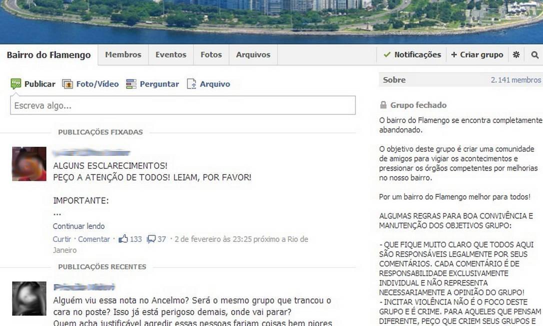 Comunidade do Facebook 'Bairro do Flamengo', que reúne alguns dos detidos por agressão de supostos bandidos Foto: Reprodução / Facebook