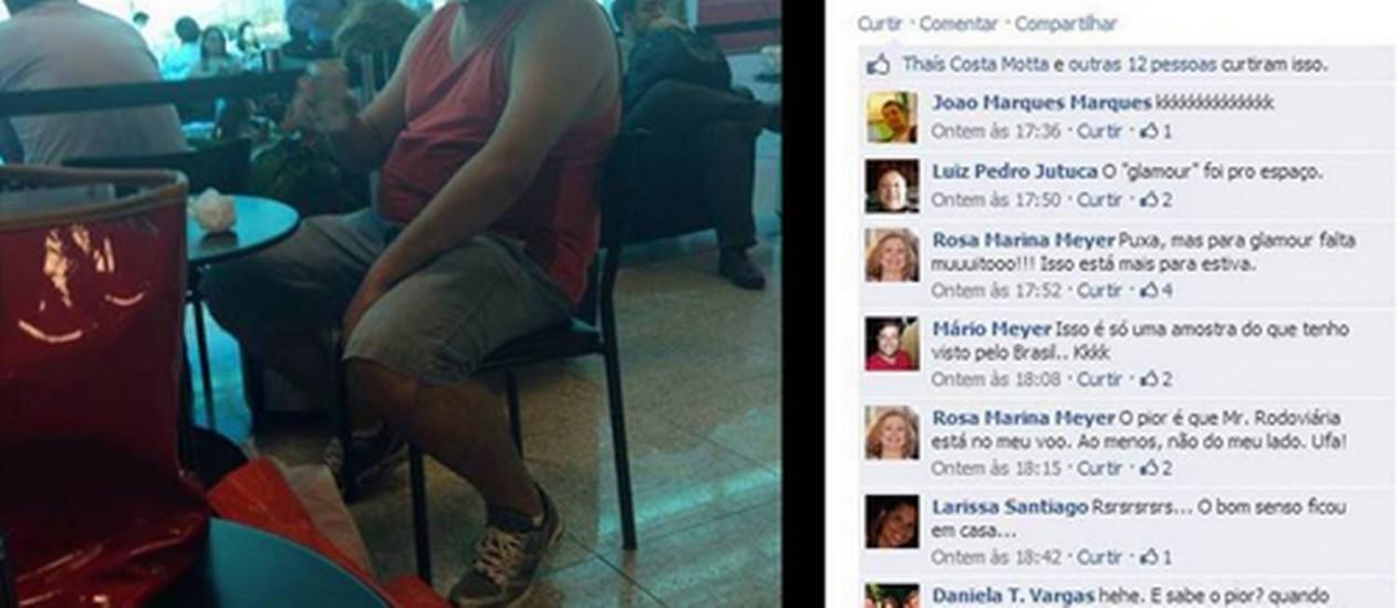 Post de professora com foto de passageiro no Santos Dummont Foto: Reprodução da página Dilma Bolada no Facebook
