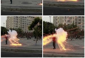 Cinegrafista é atingido por um explosivo durante manifestação na Central do Brasil Foto: O Globo / Agência