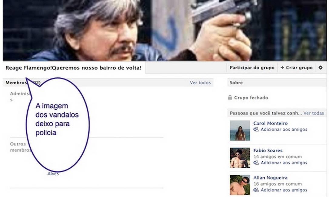 A página do Reage Flamengo com a imagem de Charles Bronson Foto: Reprodução do Facebook