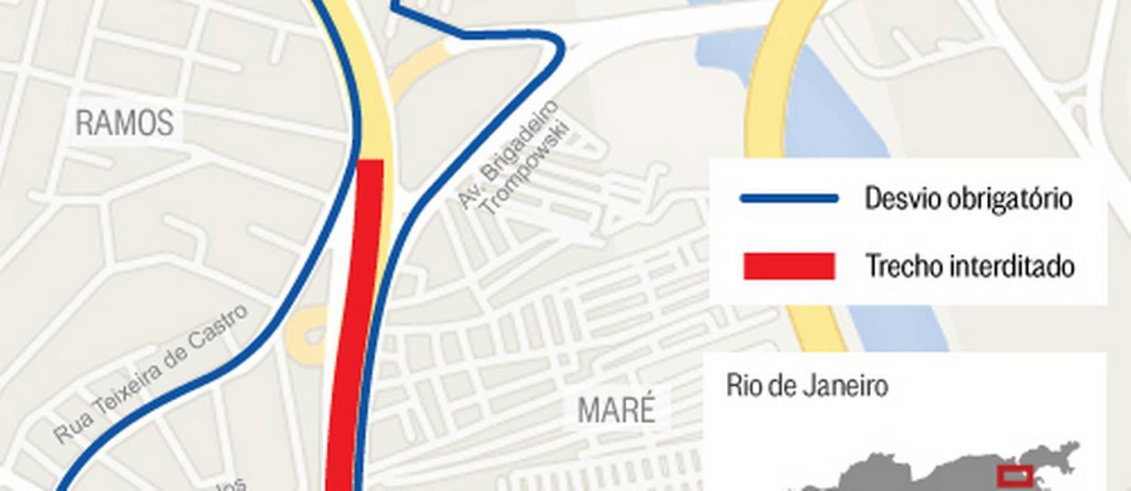 O mapa da interdição Foto: O Globo