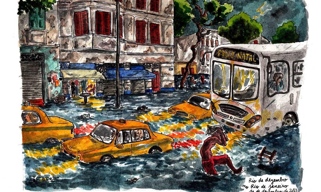 A enchente que parou a cidade em dezembro do ano passado foi um dos temas reproduzidos em detalhes pela artista francesa que produziu 30 telas nos três anos que viveu no Rio Foto: Terceiro / Ilustração de Johanna Tomé de Souza