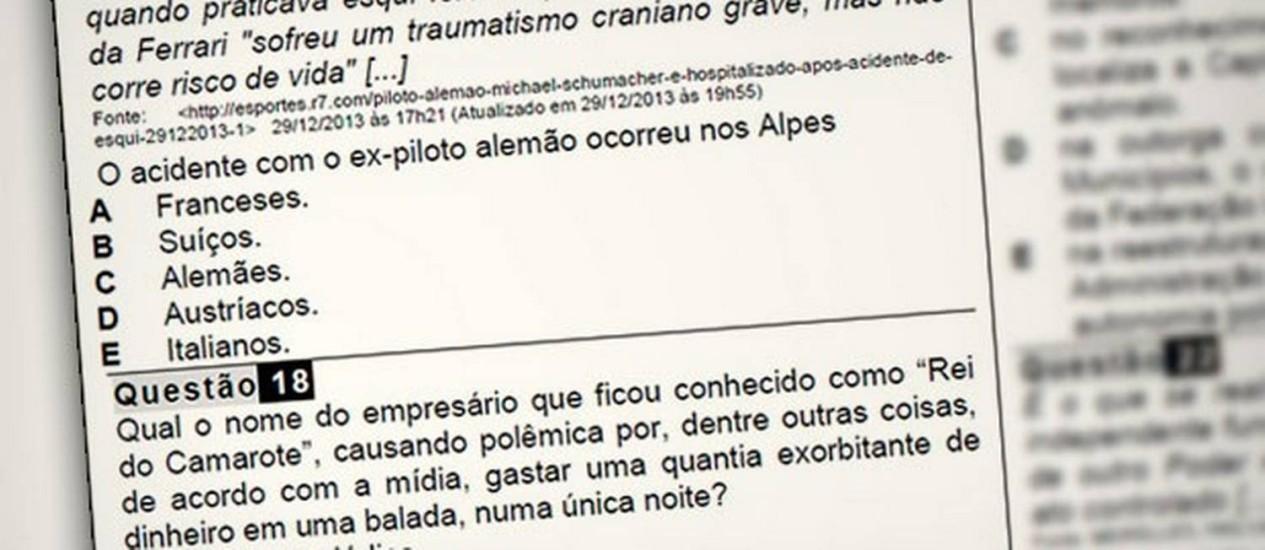 Na prova da Câmara de Jundiaí, questões sobre Rei do Camarote e Schumacher revoltam candidatos Foto: Reprodução
