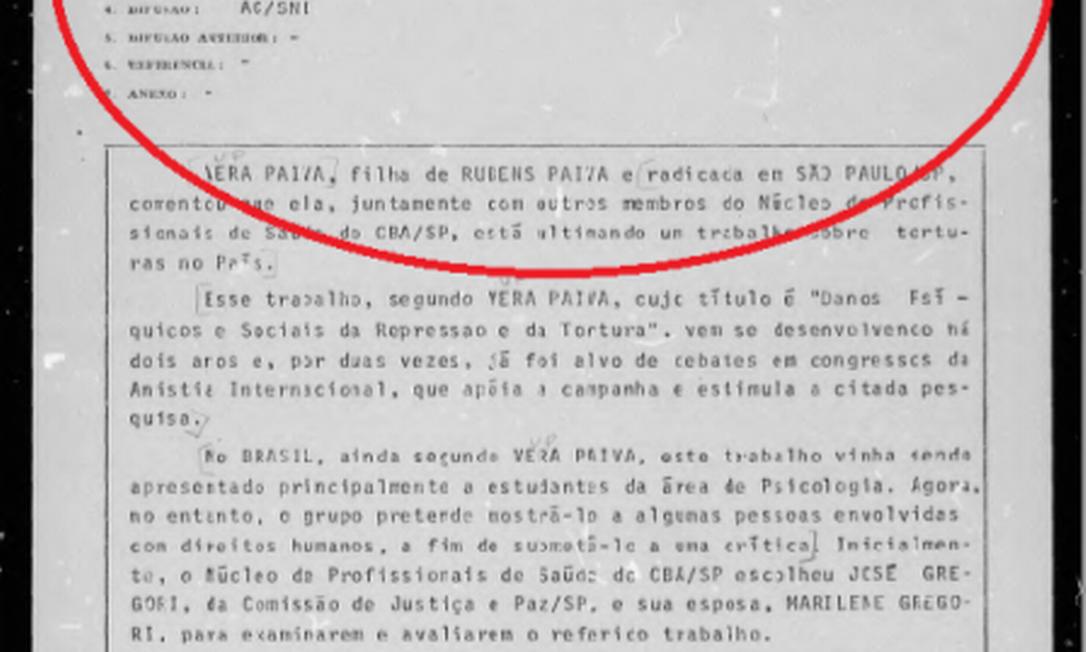 Documentos mostram que filhos de Rubens Paiva foram monitorados pelos militares mesmo depois da morte do pai Foto: Reprodução