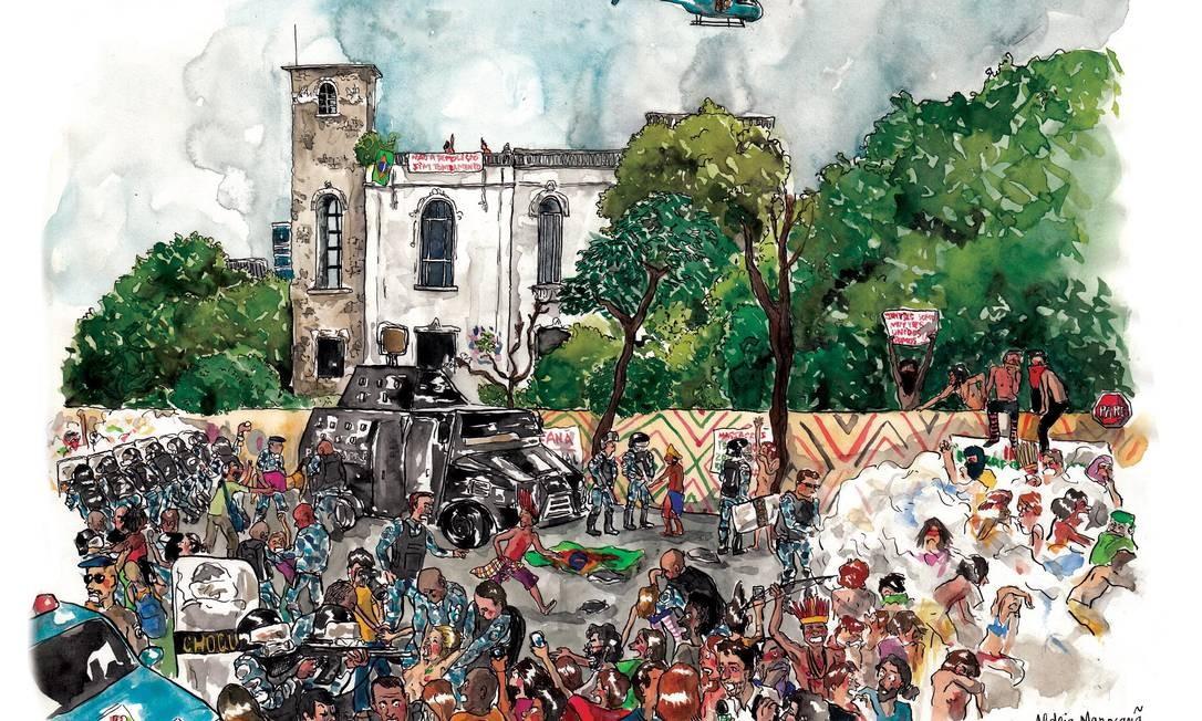 A francesa retratou, em aquarela, a ocupação da Aldeia Maracanã por manifestantes e o conflito com a polícia Foto: Terceiro / Agência O Globo