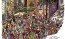 Durante os três anos em que passou no Rio de Janeiro, Johanna Tomé de Souza passou os dias retratando a cidade, suas paisagens e seu cotidiano. No desenho acima, a Pedra do Sal em uma noite agitada Foto: Terceiro / Agência O Globo