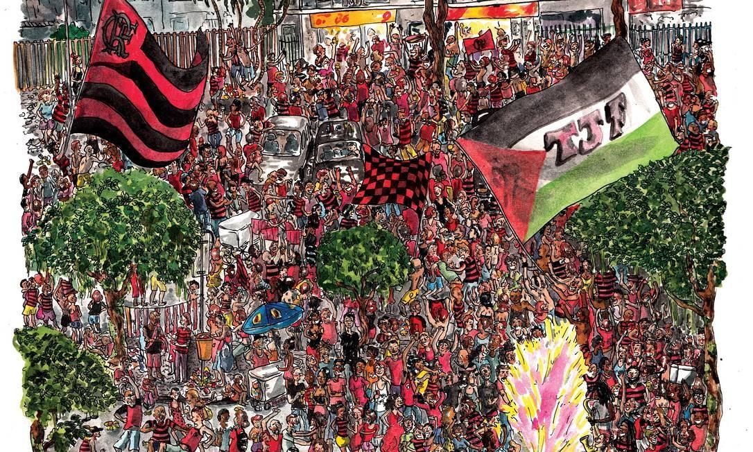 A artista reproduziu o Baixo Gávea lotado, após um jogo do Flamengo Foto: Terceiro / Agência O Globo