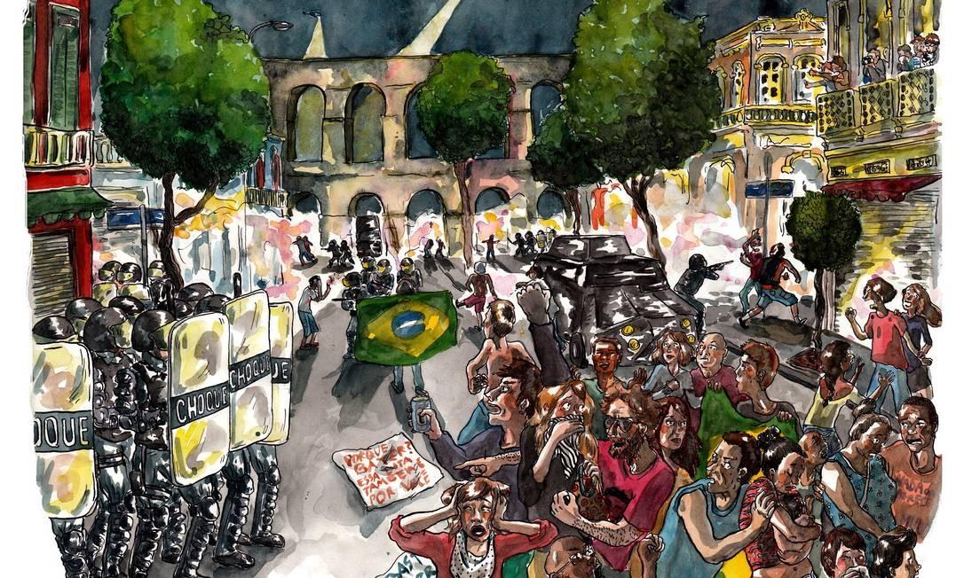 """Dias como o do """"toque de recolher"""" imposto pela Polícia Militar na Lapa (20 de junho) também foram detalhados Foto: Terceiro / Agência O Globo"""
