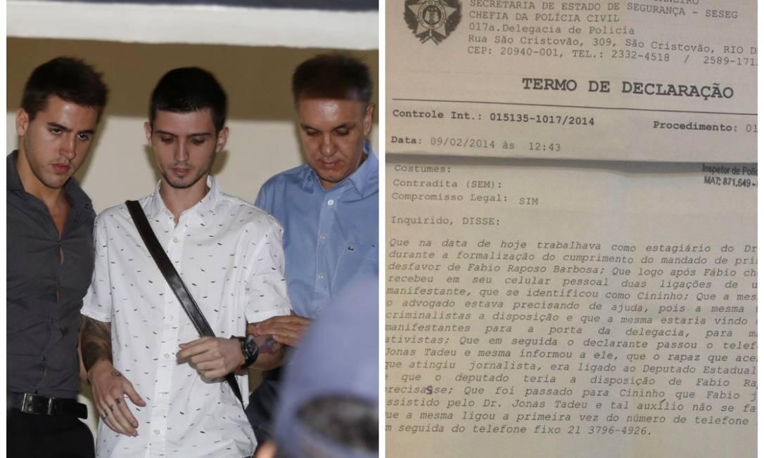 Fábio Raposo, entre o estagiário e seu advogado, chegam à delegacia; termo de declaração em que advogado fala sobre ligação entre jovens e Freixo Foto: Simone Marinho e reprodução / O Globo