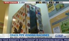 Máquina de cachimbos de crack é reabastecida a cada cinco dias Foto: Reprodução de TV / CTV Vancouver