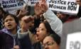Manifestantes protestam contra estupro em Nova Délhi