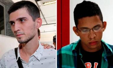 Fábio Raposo (esq.) e Caio Silva de Souza (dir.): dupla foi flagrada jogando rojão que atingiu cinegrafista durante protesto na Central do Brasil Foto: O Globo