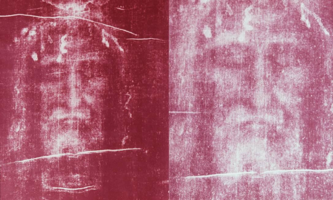 Arquivo mostra o rosto do homem do Sudário revelado em foto com luz ultravioleta Foto: Centro Romano do Estudo do Sudário