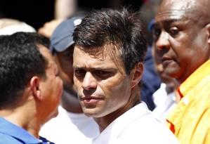 Um dos líderes da oposição, Leopoldo Lopez durante do protesto em Caracas Foto: JORGE SILVA / REUTERS